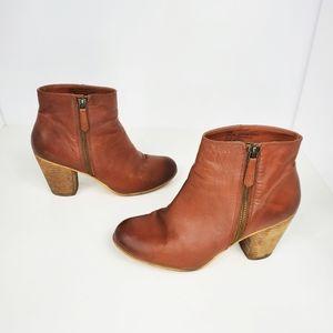 Nordstrom's BP brown leather stacked heel booties